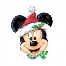 MICKEY MOUSE SANTA - BALON FOLIE FIGURINA CRACIUN, 80CM
