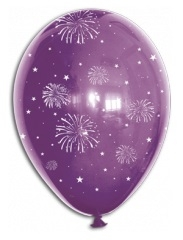 BALOANE LATEX MULTICOLORE - IMPRIMARE FOC DE ARTIFICII, DIAM. 30CM, SET DE 10 BUC.