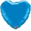 HEART BLUE QUALATEX - BALON FOLIE, FORMA INIMA, DIAM. 45CM