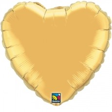 HEART GOLD QUALATEX - BALON FOLIE, FORMA INIMA, DIAM. 45CM