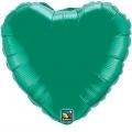 HEART GREEN QUALATEX - BALON FOLIE, FORMA INIMA, DIAM. 45CM