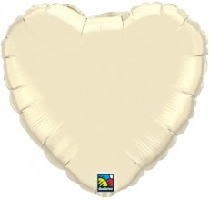 HEART IVORY QUALATEX - BALON FOLIE, FORMA INIMA, DIAM. 45CM