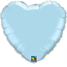 HEART LIGHT BLUE QUALATEX - BALON FOLIE, FORMA INIMA, DIAM. 45CM