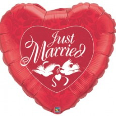 JUST MARRIED RED - BALON FOLIE NUNTA, FORMA INIMA, DIAM. 90CM
