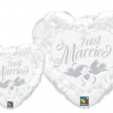 JUST MARRIED SILVER&WHITE, BALON FOLIE, 45CM