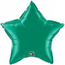 STAR GREEN QUALATEX - BALON FOLIE, FORMA STEA, DIAM. 50CM