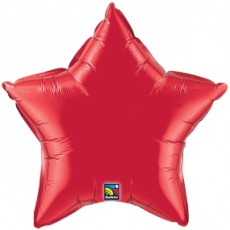 STAR RED QUALATEX - BALON FOLIE, FORMA STEA, DIAM. 50CM