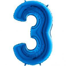 CIFRA 3 - BALON FOLIE, CULOARE ALBASTRA (BLUE), INALTIME 101CM