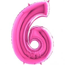 "CIFRA ""6"" - BALON FOLIE, CULOARE PINK (FUCHSIA), INALTIME 101CM"