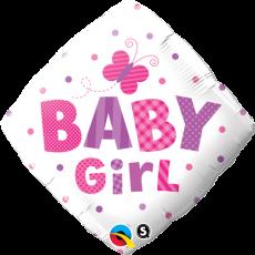 BABY GIRL BUTTERFLY - BALON FOLIE BOTEZ, FORMA ROMB, DIAM. 45CM