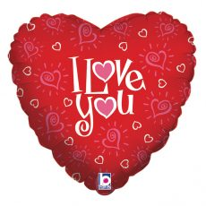 LOVE YOU HEARTS - BALON FOLIE LOVE, FORMA INIMA, DIAM. 46CM