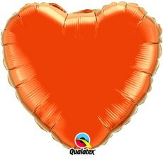 HEART ORANGE QUALATEX - BALON FOLIE, FORMA INIMA, DIAM. 45CM