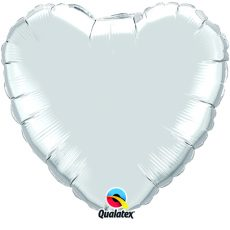 HEART SILVER QUALATEX - BALON FOLIE, FORMA INIMA, DIAM. 90CM