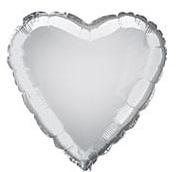 HEART SILVER - BALON FOLIE, FORMA INIMA, DIAM. 35CM