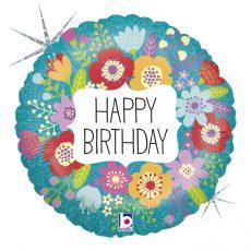 WILDFLOWER BIRTHDAY - BALON FOLIE ANIVERSARE, FORMA ROTUNDA, DIAM. 46CM