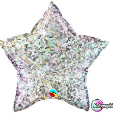 STAR SILVER HOLGRAPHIC QUALATEX - BALON FOLIE, FORMA STEA, DIAM. 50CM