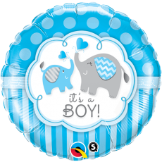 IT'S A BOY ELEPHANTS - BALON FOLIE BOTEZ, FORMA ROTUNDA, DIAM. 45CM