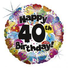 40th PARTY BIRTHDAY - BALON FOLIE ANIVERSARE, FORMA ROTUNDA, DIAM. 46CM