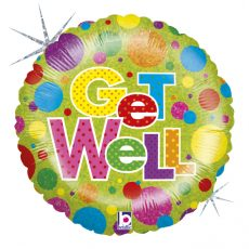 GET WELL (SANATATE!) - BALON FOLIE, FORMA ROTUNDA, DIAM. 46CM