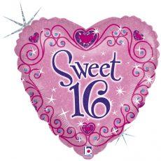 SWEET 16 BIRTHDAY - BALON FOLIE ANIVESARE 16 ANI, FORMA INIMA, DIAM. 46CM