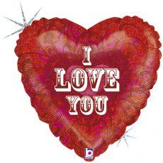 I LOVE YOU FUILIGREE, BALON FOLIE, 45CM