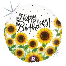 SUN FLOWERS BIRTHDAY - BALON FOLIE ANIVERSARE, FORMA ROTUNDA, DIAM. 46CM