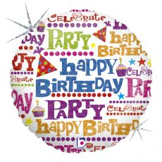 GIFT WRAP BIRTHDAY - BALON FOLIE ANIVERSARE, FORMA ROTUNDA, DIAM. 46CM