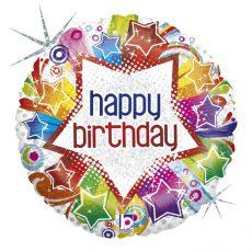 STARBUST BIRTHDAY - BALON FOLIE ANIVERSARE, FORMA ROTUNDA, DIAM. 46CM