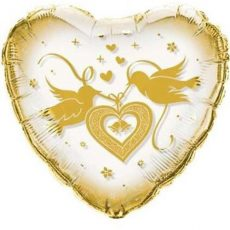 CRYSTAL DOVES GOLD - BALON FOLIE, FORMA INIMA, DIAM. 60CM