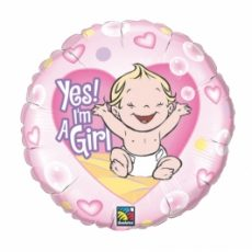BALON FOLIE YES! I'M A GIRL 45CM