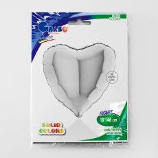 HEART SILVER - BALON FOLIE, FORMA INIMA, DIAM. 46CM