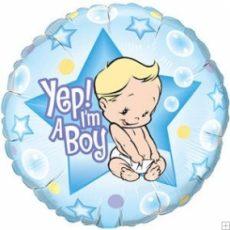 YEP! I'M A BOY - BALON FOLIE BOTEZ, FORMA ROTUNDA, DIAM. 45CM