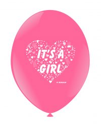 "BALOANE LATEX - IMPRIMARE BOTEZ ""IT'S A GIRL!"", DIAM. 30CM, SET DE 10 BUC."