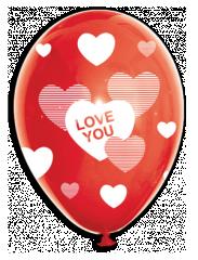 BALOANE LATEX - IMPRIMARE CU HEART&LOVE, DIAM. 30CM, SET DE 10 BUC.