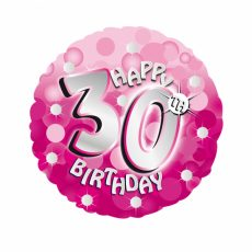 "BALON FOLIE HAPPY BIRTHDAY ""30"" PINK 45CM"