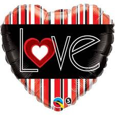 BALON FOLIE LOVE BLACK&RED 45CM