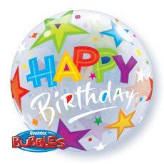 BIRTHDAY STARS BUBBLES - BALON FOLIE, FORMA ROTUNDA, DIAM. 56CM