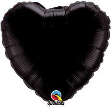 HEART BLACK QUALATEX - BALON FOLIE, FORMA INIMA, DIAM. 45CM