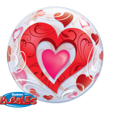 RED HEART BUBBLES - BALON FOLIE LOVE, FORMA ROTUNDA, DIAM. 56CM