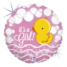BUBBLE DUCKY GIRL - BALON FOLIE BOTEZ, FORMA ROTUNDA, DIAM. 46CM