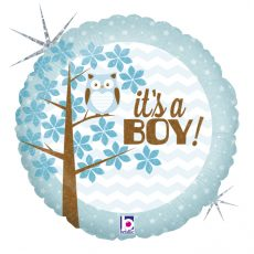 IT'S A BOY BABY OWL, BALON FOLIE, 45CM