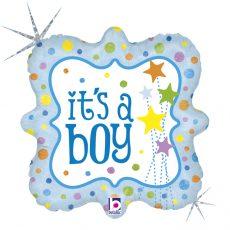 IT'S A BOY STARS - BALON FOLIE BOTEZ, FORMA PATRATA, DIAM. 46CM