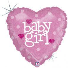 BABY GIRL HEART - BALON FOLIE BOTEZ, FORMA INIMA, DIAM. 46CM
