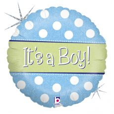 POLKA DOT IT'S A BOY, BALON FOLIE, 45CM
