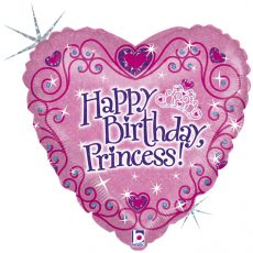 HAPPY BIRTHDAY PRINCESS! - BALON FOLIE ANIVERSARE, FORMA INIMA, DIAM. 46CM