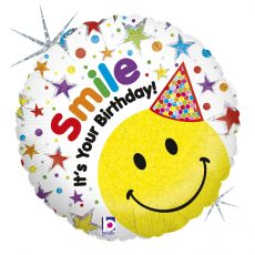 SMILE IT'S YOUR BIRTHDAY - BALON FOLIE ANIVERSARE, FORMA ROTRUNDA, DIAM. 46CM