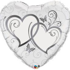 WEDDING HEART SILVER - BALON FOLIE NUNTA, FORMA INIMA, DIAM. 45CM