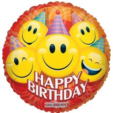 HAPPY BIRTHDAY SMILEY - BALON FOLIE ANIVERSARE, FORMA ROTUNDA, DIAM. 45CM